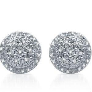 Diamond Cluster Earrings 1/10 ct Sterling Silver